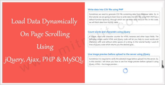 Load data dynamically on page scrolling using jQuery, Ajax