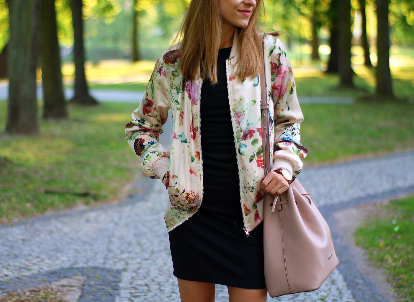 Black dress and flower bomber jacket
