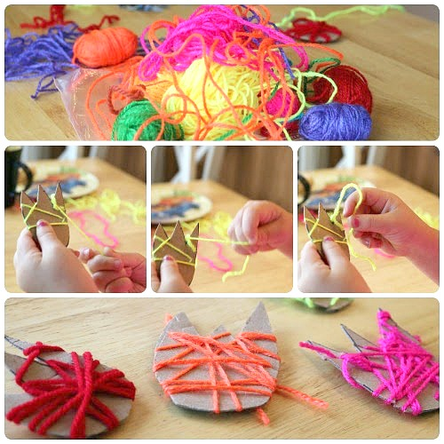 yarn wrapping flower craft