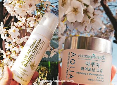 Rutin Penjagaan Kulit Menggunakan Pencuci & Pelembap - Aloe Ac Clean Bubble Cleanser + Aqua Whitening Cream By Hansaegee Nature