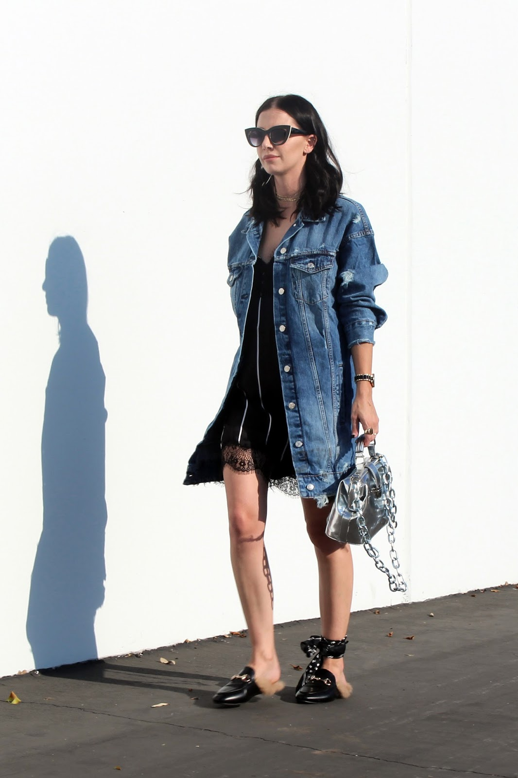 slip dress and oversized denim jacket