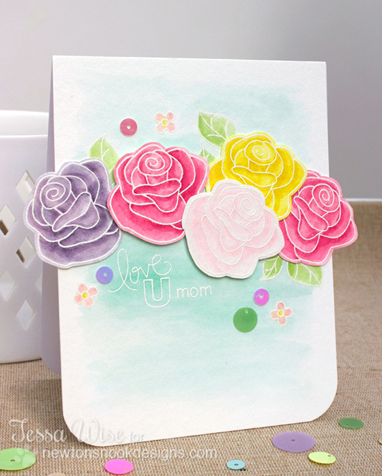 Watercolor Roses Card by Tessa Wise for Inky Paws Challenge #9 | Newton's Nook Designs