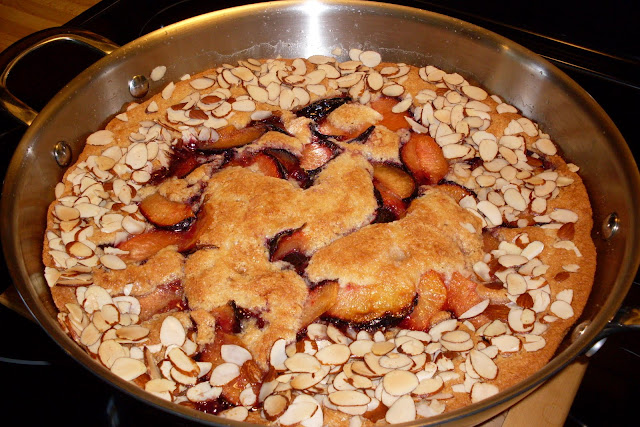 Brown Butter and Fruit Skillet Cobbler, fruit cobbler with a tender brown butter cake topping.