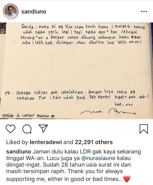 Sudah 28 Tahun Surat Cinta Nur Asia Untuk Sandiaga Uno