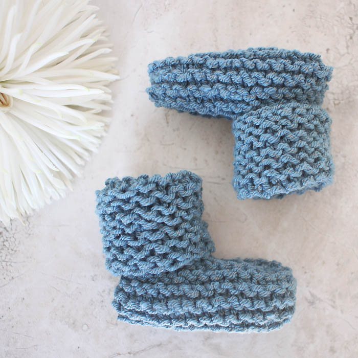 Easy Knitting Pattern For Babies Booties : Easy cuffed baby booties free knitting pattern gina michele