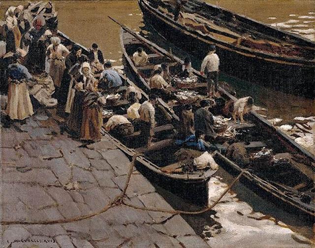 Pescadoras en el puerto, La Sardinera, Enrique Martínez Cubells, Pintor español, Pintores españoles, Martínez Cubells, Paisajes de Enrique Martínez Cubells, Pintores Valencianos