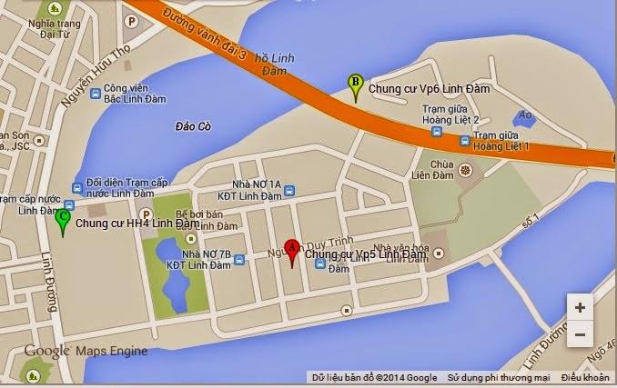 Vị trí chung cư hh1 linh đàm qua google map