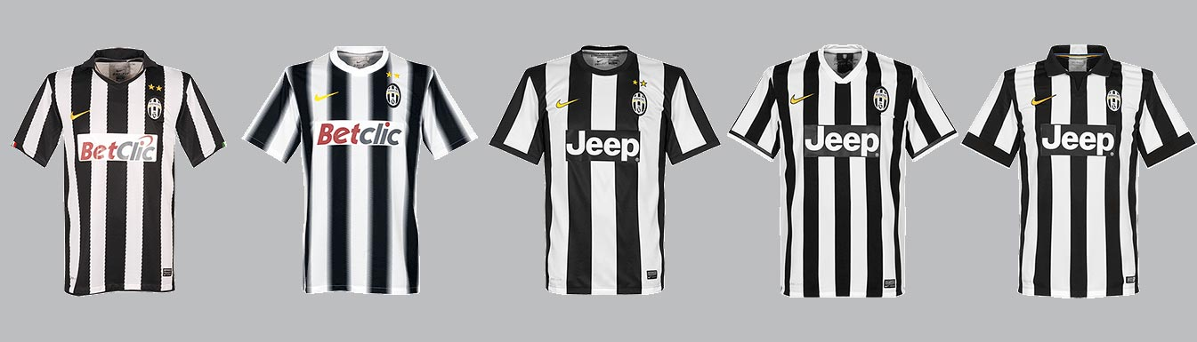 1443fa4c9 Less Stripes With Every Year  Here Are All 5 Juventus Home Kits From ...