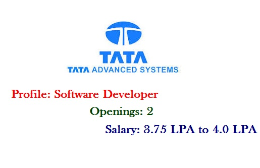 Tata Advanced Systems Off Campus for Freshers as Software ...
