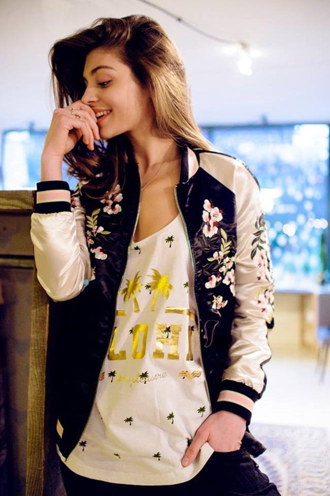 2016 Spring Stradivarius Pink Embroided Sukajan Bomber Jacket