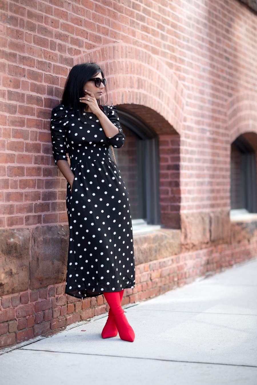 polka dots, sock boots, fall fashion trends, fall style, shopbop sale, petite blogger, petite fashion, affordable style, european style, mom style, fashion deals