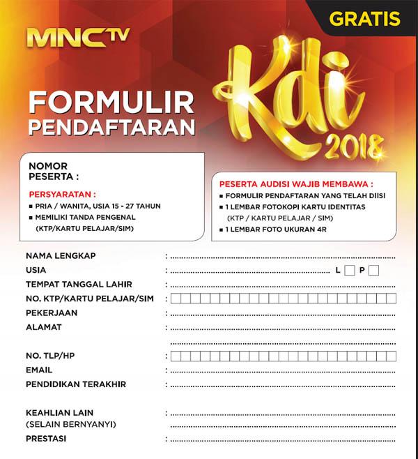 Formulir Pendaftaran Audisi KDI 2018