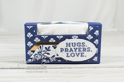 Floral Boutique Flourish Pocket Tissue Pack Box | Elegant Navy and White Handmade Packaging