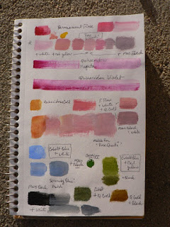 Testing acrylic paint colors for my final palette.