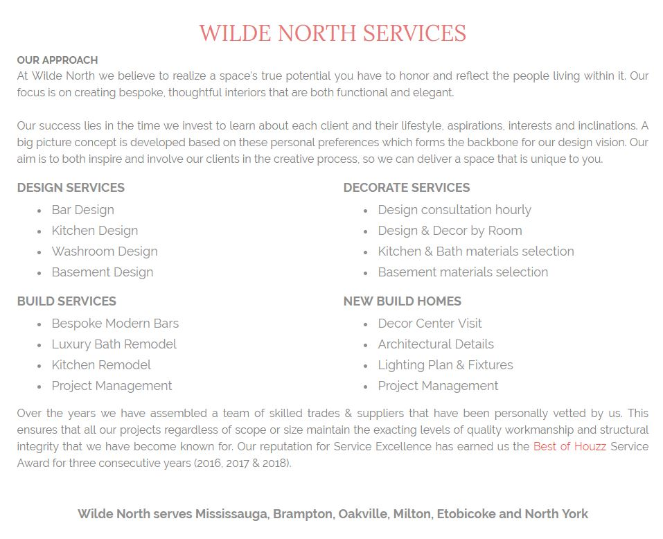 service offerings by wilde north interiors