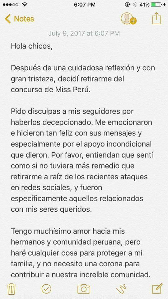 """Una de las favoritas le dice """"No"""" al Miss Perú 2017  19894715_502820883395887_8735318128394161028_n"""
