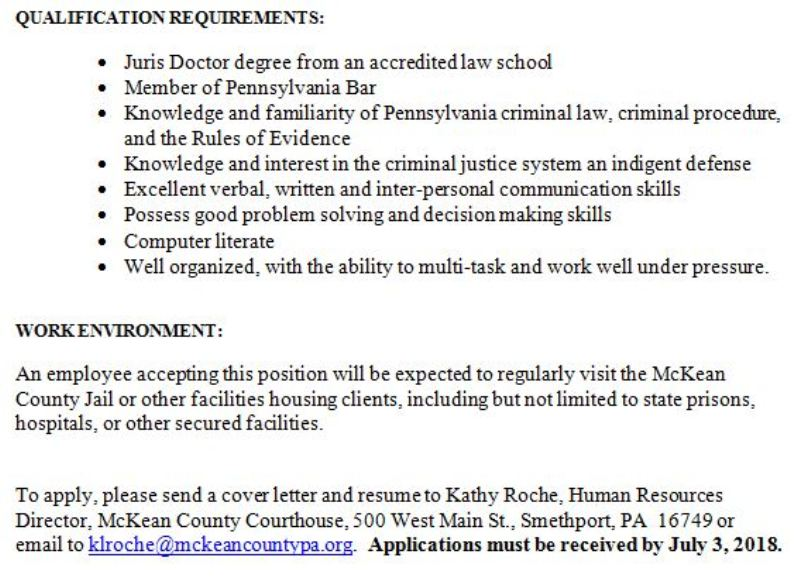 Solomon\u0027s words for the wise MeKean County Seeking Applications For - public defender resume