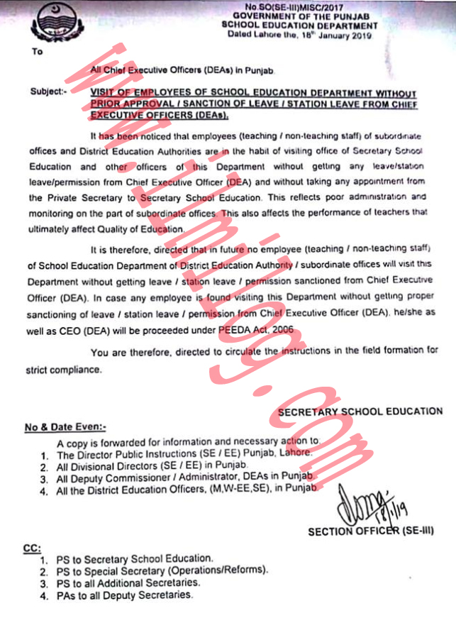 Approval Chief Executive Officer Before Visiting Secretary For
