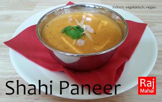 Shahi Paneer: indischer Käse mit Cashewnüssen in einer fein gewürzten Sahnesoße mit Honig verfeinert