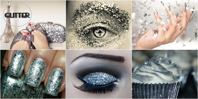 silver glitter inspiration, silver glitter makeup nails and shoes