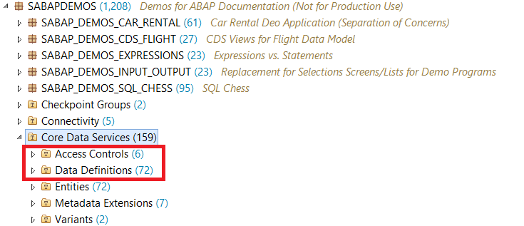 SAP ABAP Central: Standart DEMO Examples of ABAP CDS views