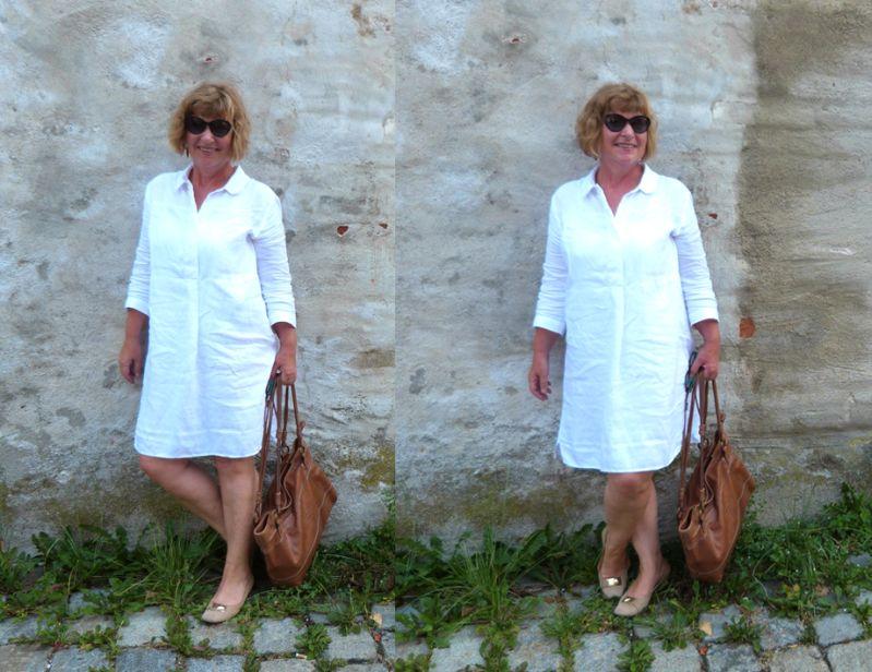 Sabine im weißen Leinenkleid
