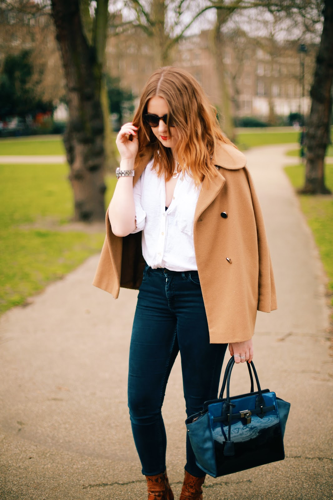 fashion blogger camel coat