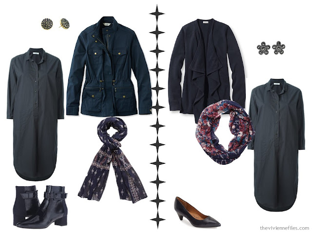 How to accessorize a dark grey dress with navy