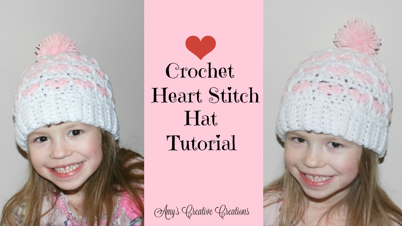 Amys crochet creative creations crochet heart stitch hat tutorial crochet heart stitch hat tutorial with video baditri Image collections
