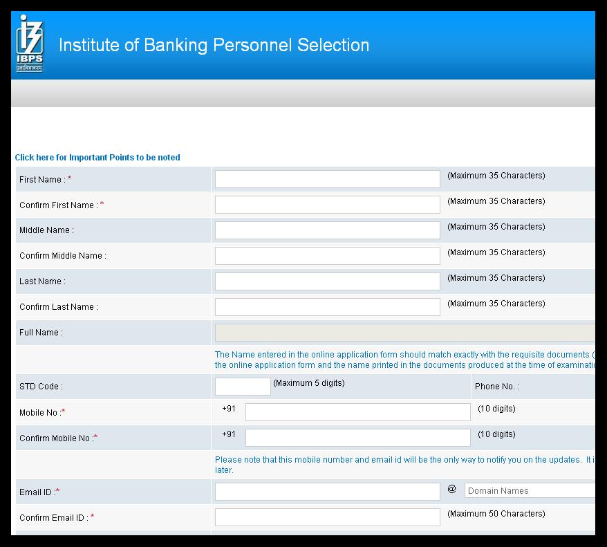 ibps exam application form 2015