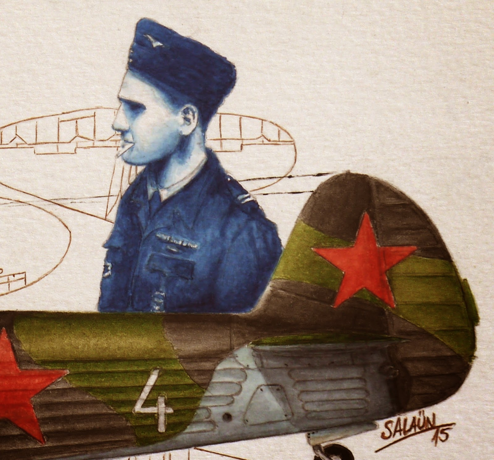 Aquarelle Yakovlev Yak-1b Marcel Albert