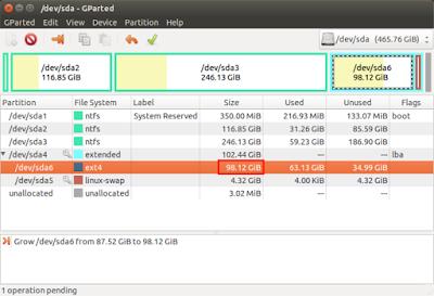 Kemudian partisi yang unallocated tadi akan hilang dan partisi linux akan bertambah jadi 98GB