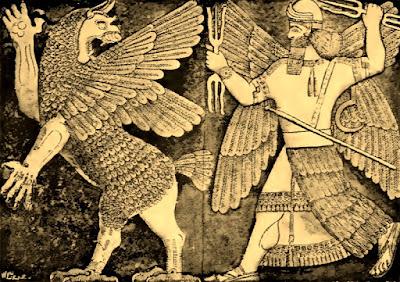 Marduk y Mushushu, mostrando su poderío.
