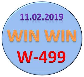 Win Win W-499 Kerala Lottery Result dated 11.02.2019