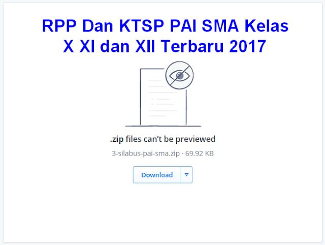 RPP Dan KTSP PAI SMA Kelas X XI dan XII Terbaru 2017
