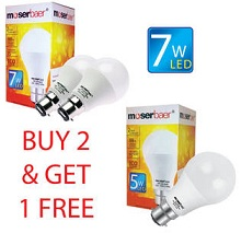 Buy 2 MoserBaer 7W ECO LED Bulb for Rs.240 & Get 1 Pc 5W LED Bulb FREE @ Paytm (Rs.80 Cashback)