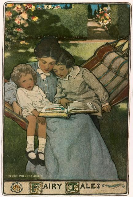 A mãe lê para crianças em desenho de Jessie Wilcox Smith (1863-1935) arquivado na Biblioteca Pública de Boston.