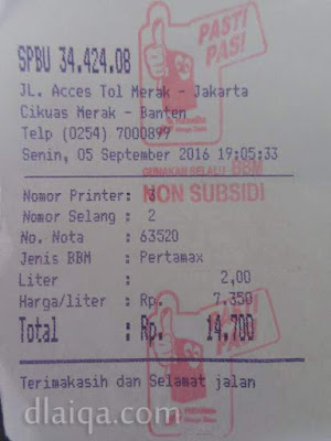 struk pembelian bahan bakar di SPBU Merak, Banten