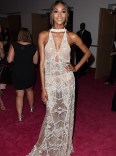 Jourdan Dunn in a white see through crochet lace dress at the 2016 CFDA Fashion Awards