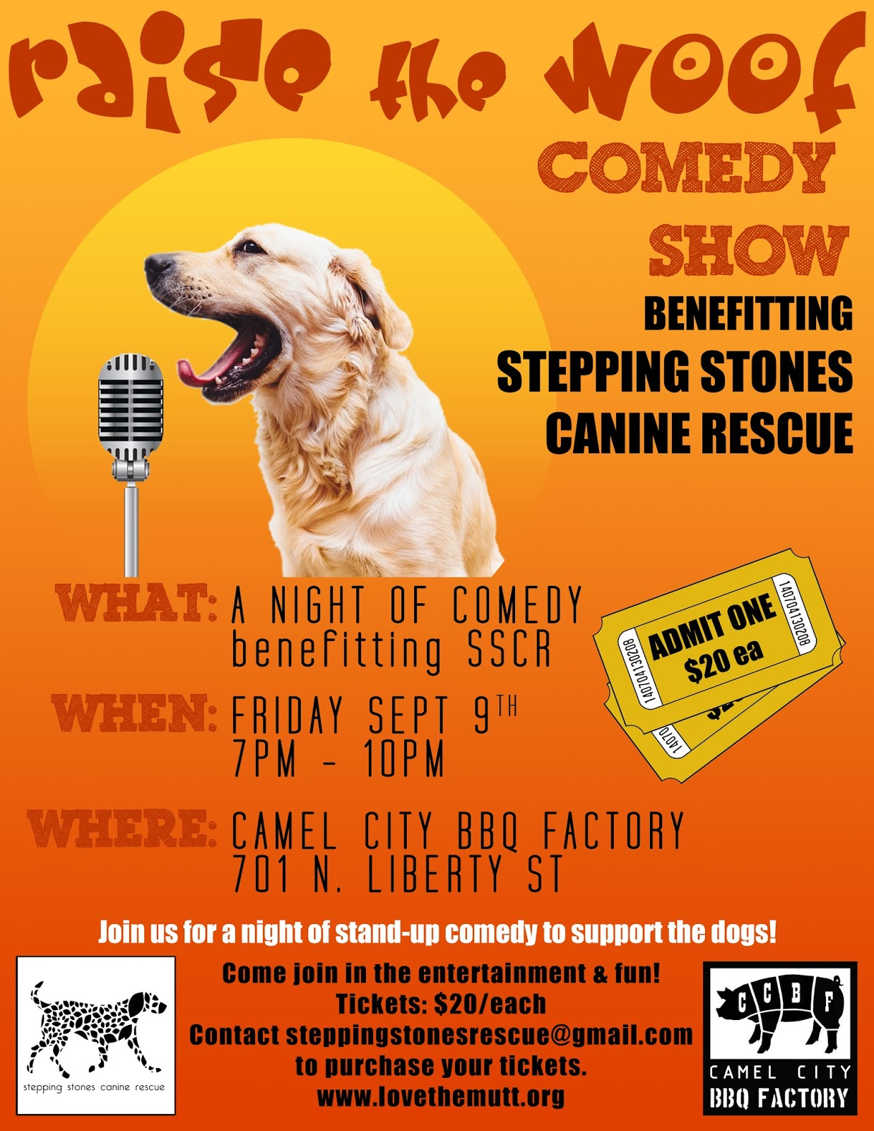 stepping stones canine rescue: Raise the Woof - September 9
