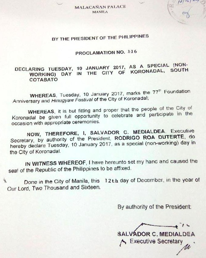 January 10 is a Special (Non-Working) Day in Koronadal City