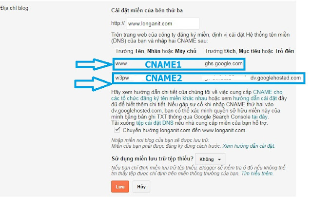 Thông báo lỗi giúp bạn tìm được 2 CNAME để thêm vào trang cấu hình domain