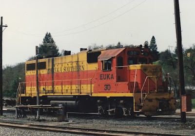 Eureka Southern GP38 #30 at Willits, California, on March 18, 1992