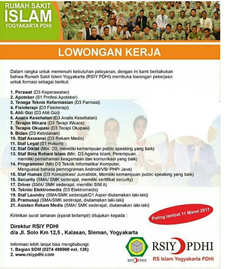 21 Lowongan Kerja di Rumah Sakit Islam Yogyakarta PDHI (RSIYPDHI)