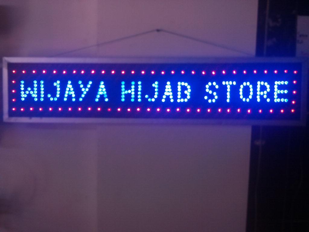 Jual Papan Nama Tulisan Lampu Led Sign Salon Barber Open Pulsa Barbershop Custom Harga Murah Wijaya Hijab Store 225rb
