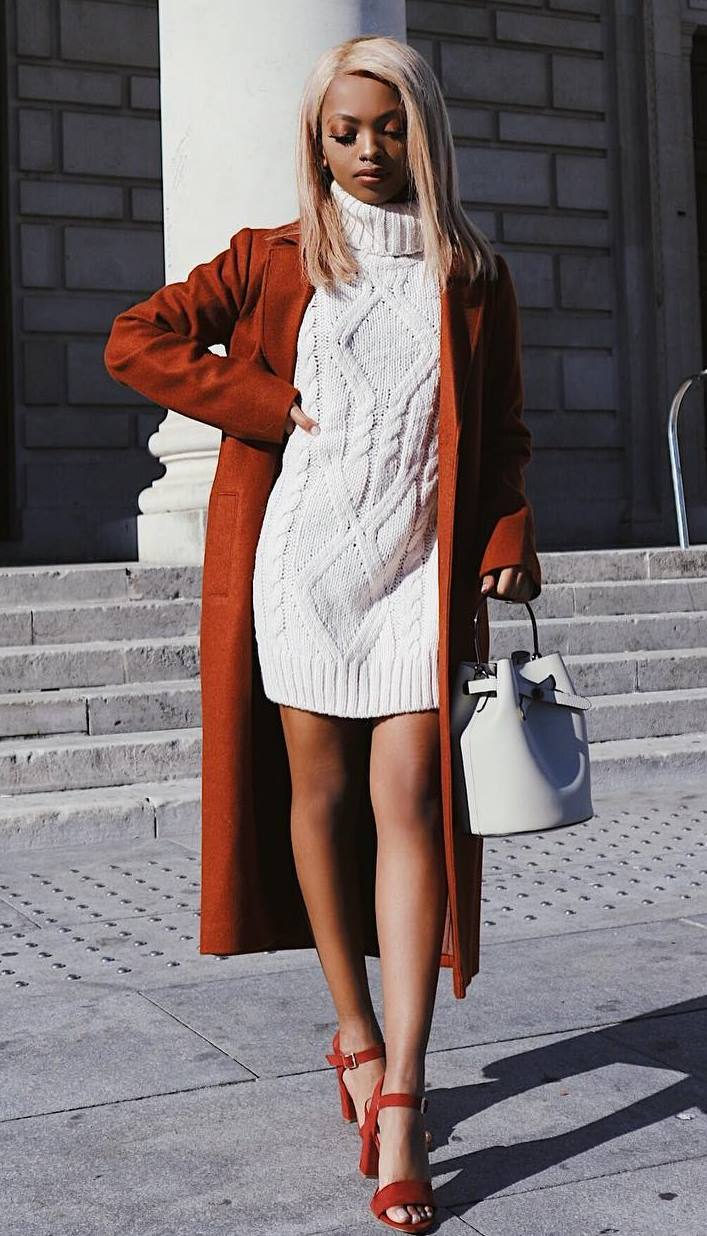awesome winter outfit / bag + white sweater dress + brown coat + heels
