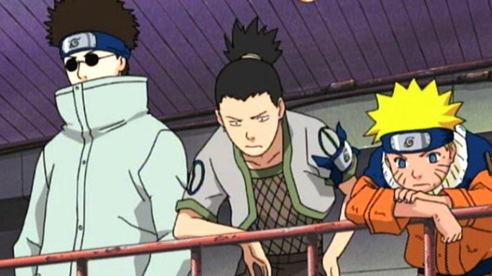 Shino, Shikamaru y Naruto observando