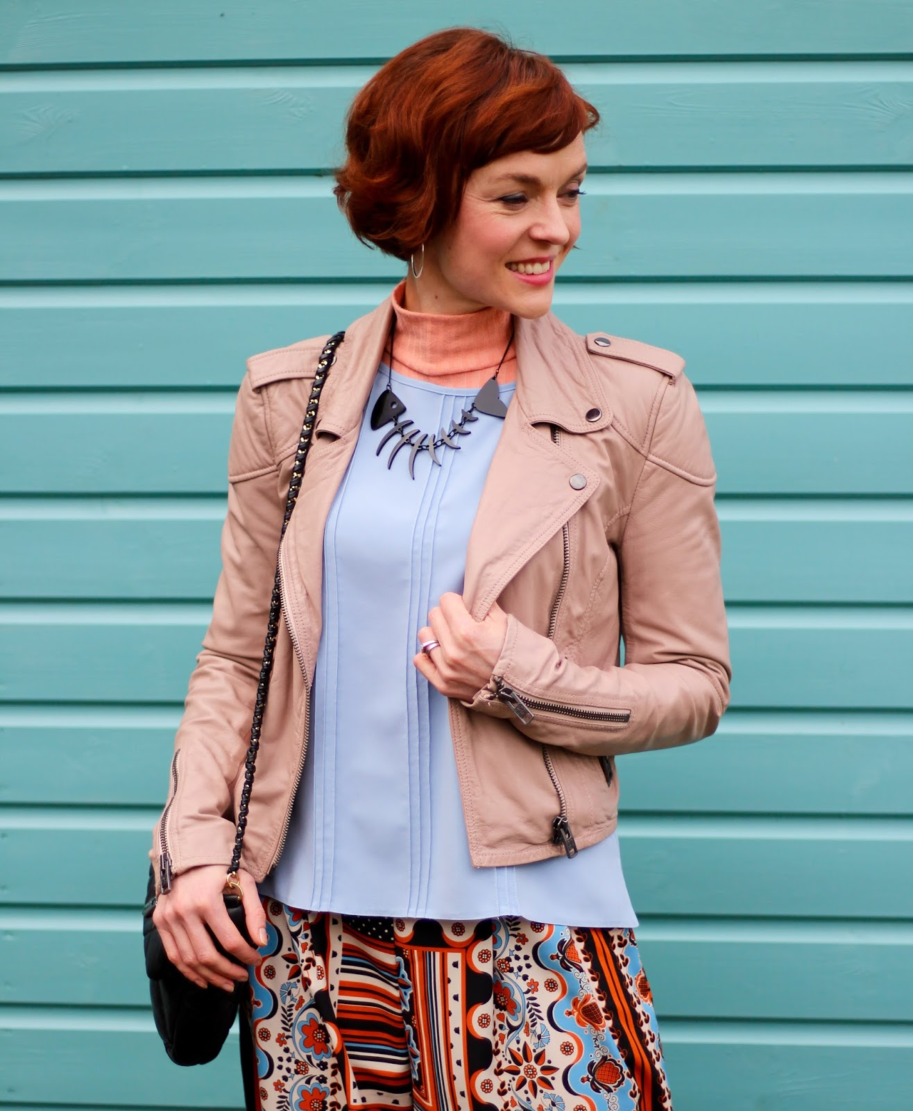 Soft Blue top, Nude Biker Jacket, Vagabond sandals | Spring Culottes Outfit, over 40 | Fake Fabulous