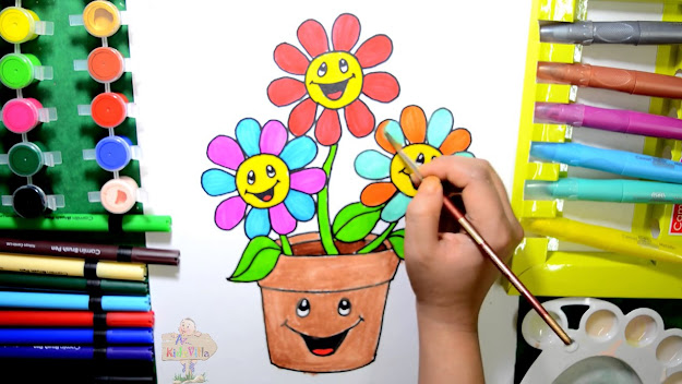How To Draw Color And Paint Flower Pot Coloring Page For Kids To Learn  Coloring Step By St