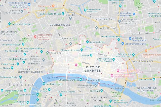 localización de la city de Londres